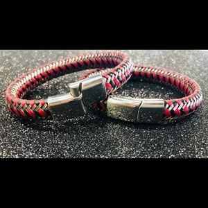 Other - BRAIDED GENUINE LEATHER STAINLESS STEEL BRACELET.
